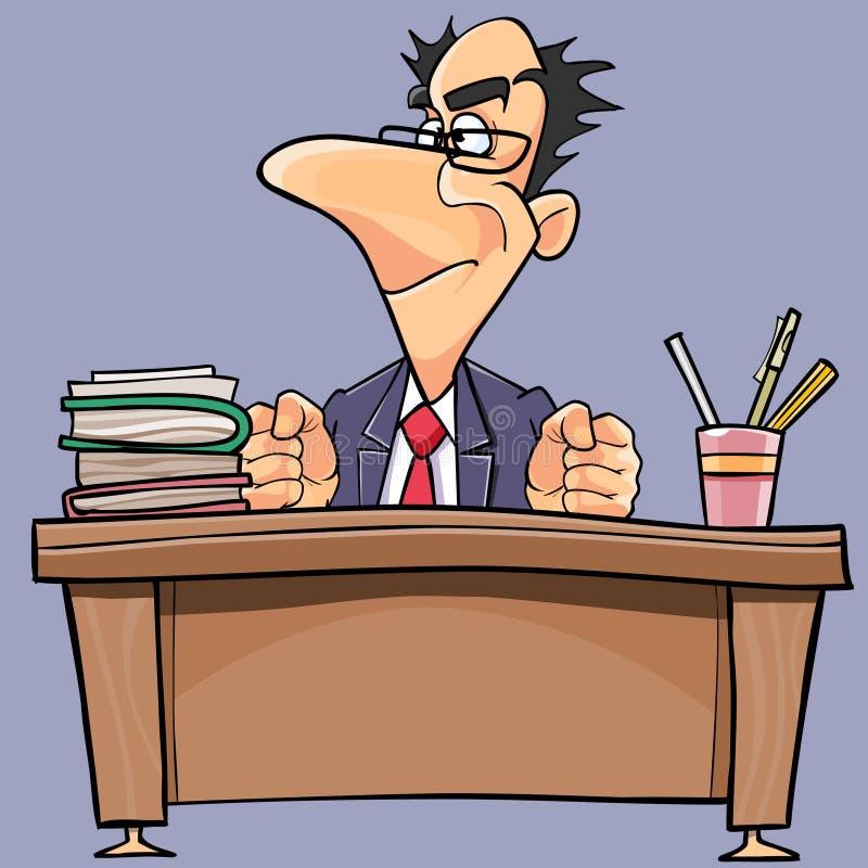 Karikaturmann im Anzug und in der Bindung arbeitet hinter einer Tabelle lizenzfreie abbildung
