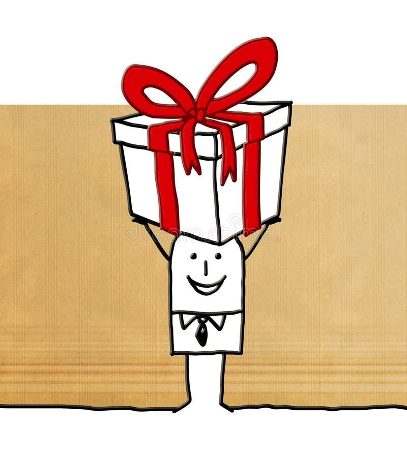 Karikaturmann mit einem großen Geschenk stock abbildung