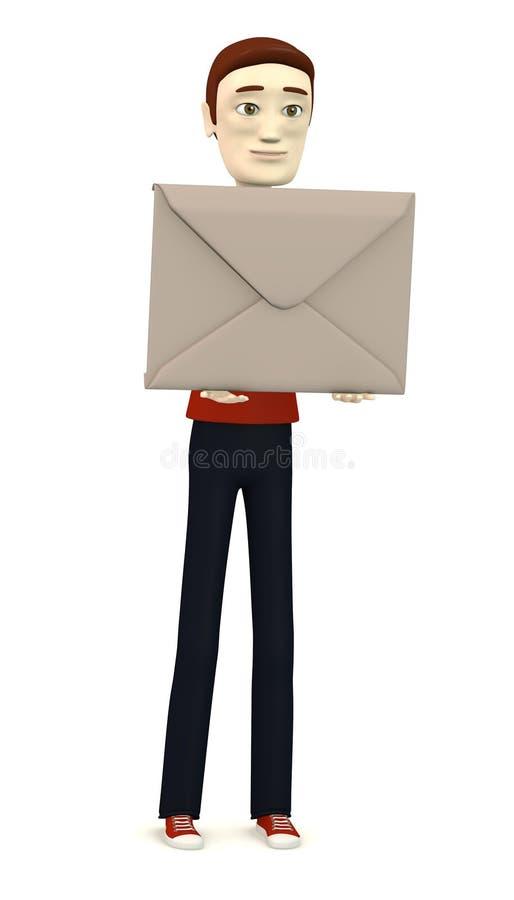 Karikaturmann mit Umschlag lizenzfreie abbildung