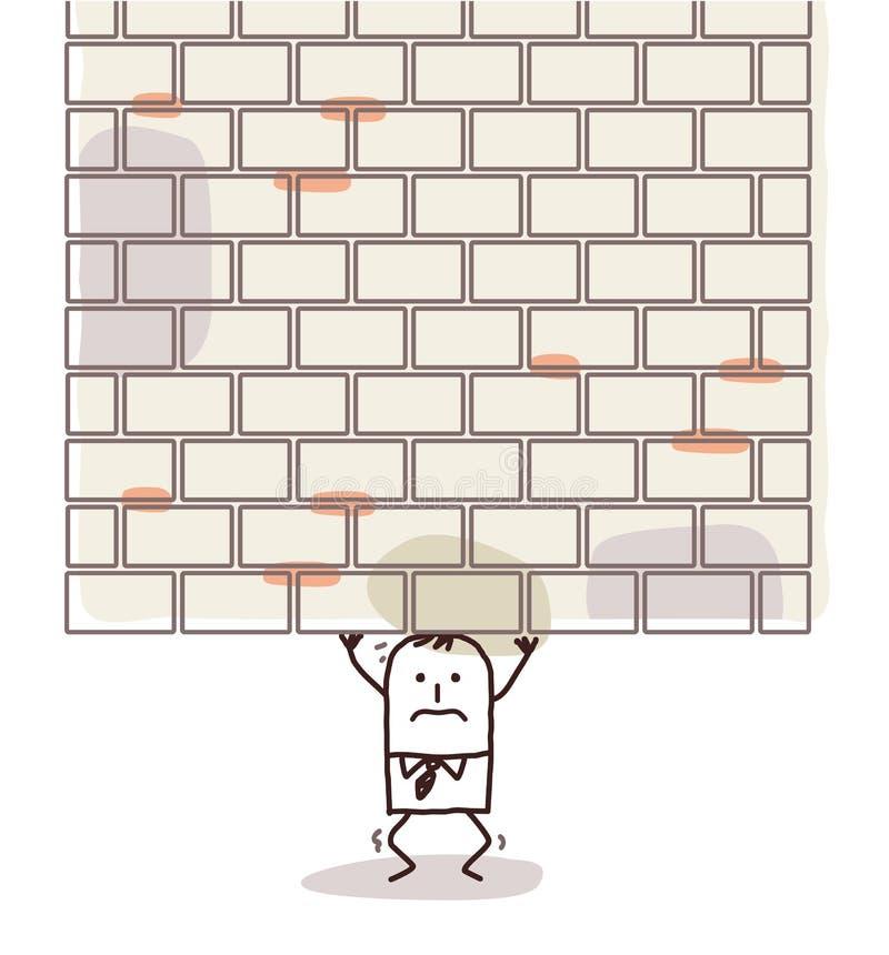 Karikaturmann zerquetscht unter einer schweren Wand lizenzfreie abbildung