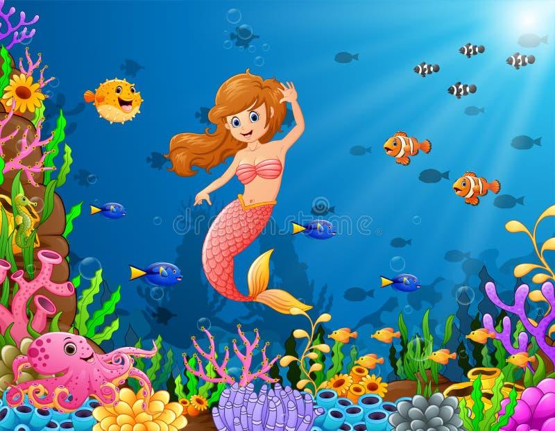 Karikaturmeerjungfrau Unterwasser lizenzfreie abbildung