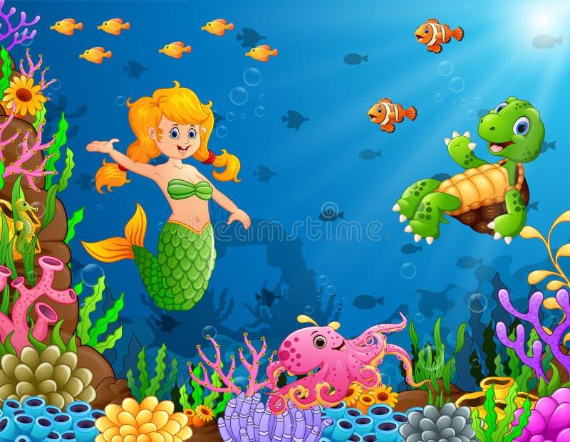 Karikaturmeerjungfrau Unterwasser mit Schildkröte und Krake stock abbildung