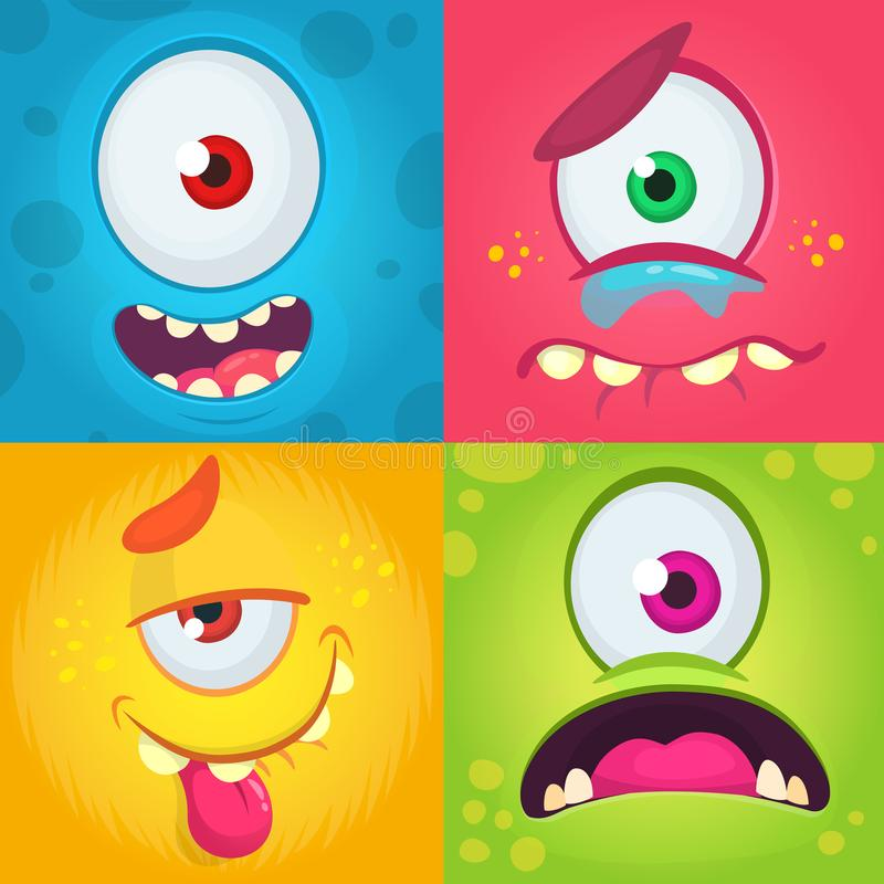 Karikaturmonstergesichter eingestellt Vektorsatz von vier Halloween-Monstergesichtern mit verschiedenen Ausdrücken Einäugige Mons vektor abbildung