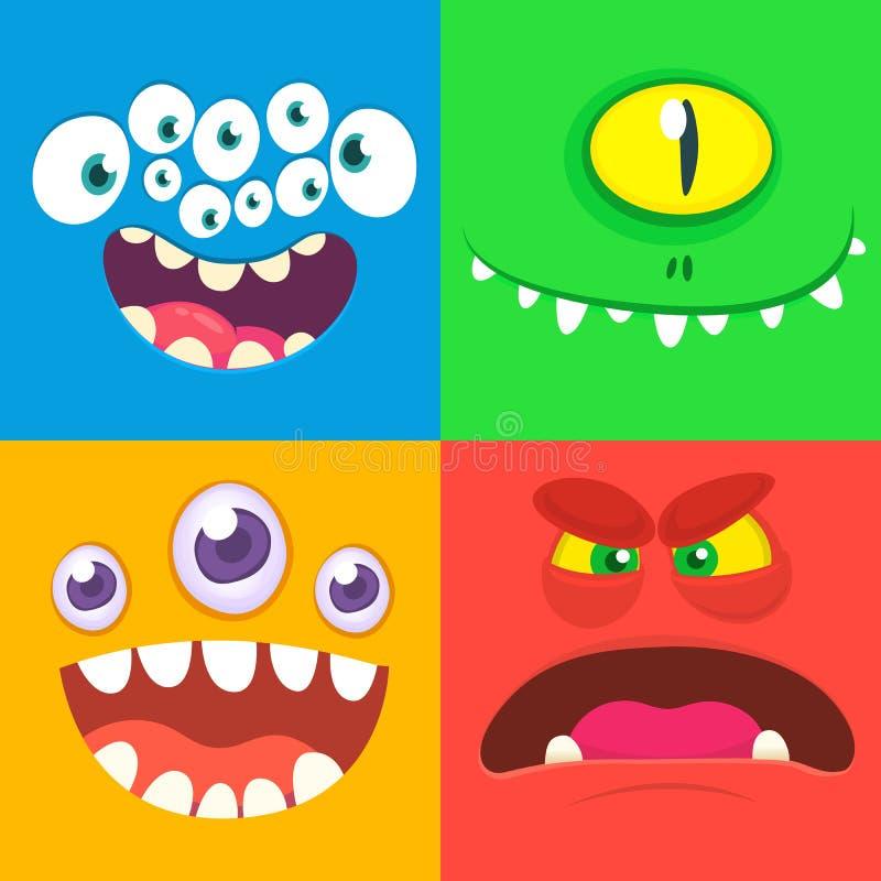 Karikaturmonstergesichter eingestellt Vektorsatz von vier Halloween-Monstergesichtern lizenzfreie abbildung