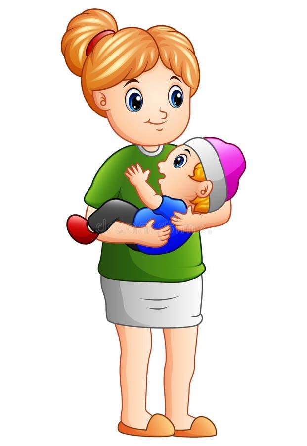 Karikaturmutter, die ihren Sohn hält stock abbildung