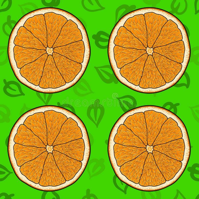 Karikaturorange mit Grün verlässt Hintergrund, nahtloses Muster stock abbildung