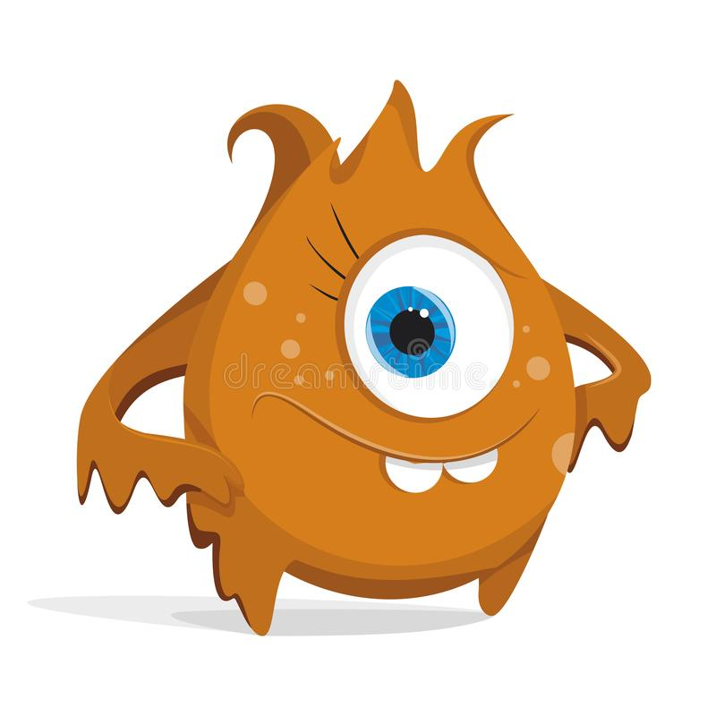 Karikaturorangenmonster Bakterien mit großen Augen, Zähne, Hände, Füße Mikroorganismus auf einem weißen Hintergrund stock abbildung