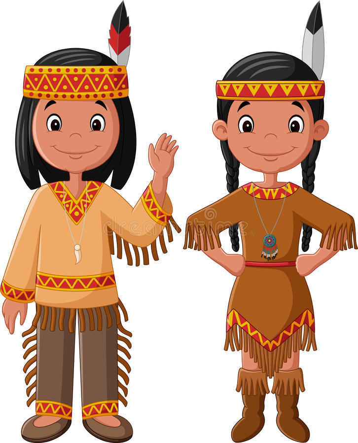 Karikaturpaare gebürtiger indischer Amerikaner mit traditionellem Kostüm vektor abbildung