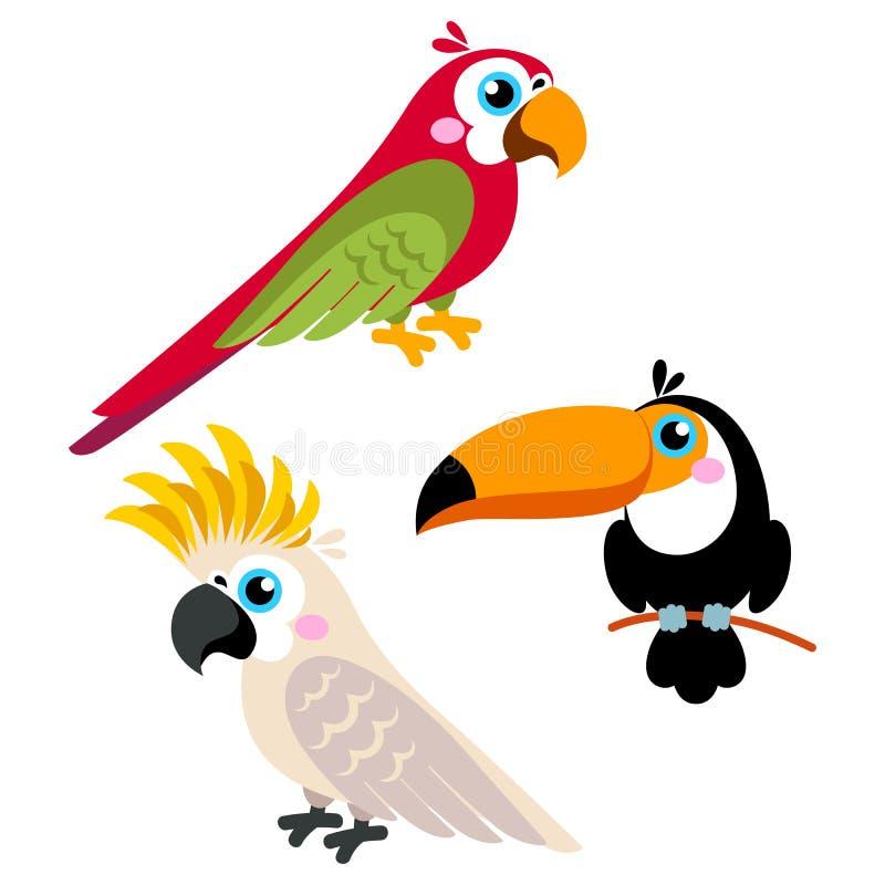 Karikaturpapageien eingestellt und Vögel des wilden Tieres der Papageien lokalisiert auf weißem Hintergrund lizenzfreie abbildung