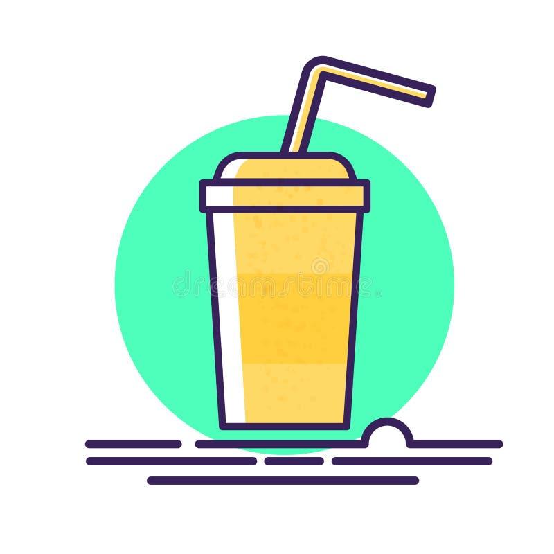 Karikaturpapierschale mit Plastikstrohvektorillustration Kaltes Getränk cocktail Flache Art ikone vektor abbildung