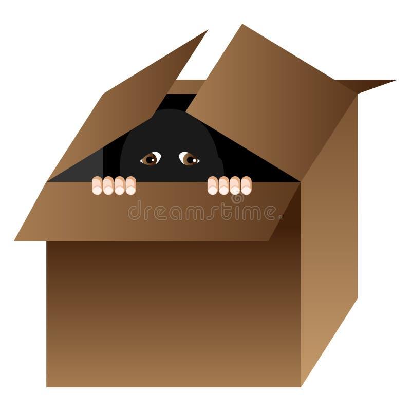 Karikaturperson, die in einem Kasten sich versteckt lizenzfreie abbildung