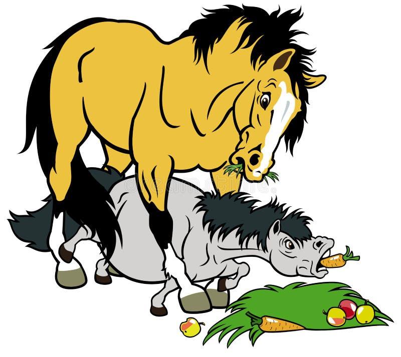 Karikaturpferd und -pony lizenzfreie abbildung