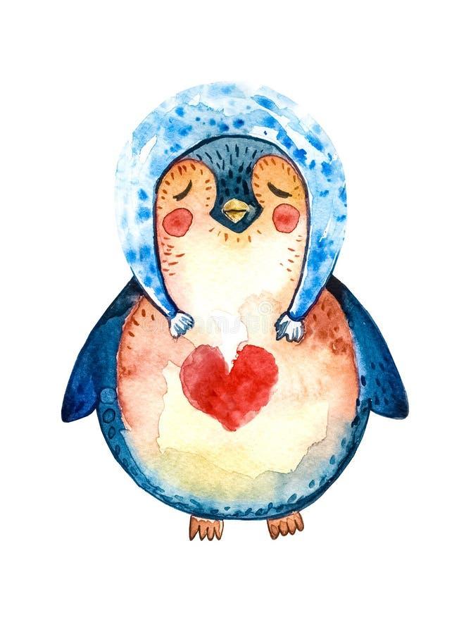 Karikaturpinguin in einem blauen Hut und ein rotes Herz auf seinem Kasten, schlossen seine Augen und Träume der Liebe Weißer Hint lizenzfreie abbildung
