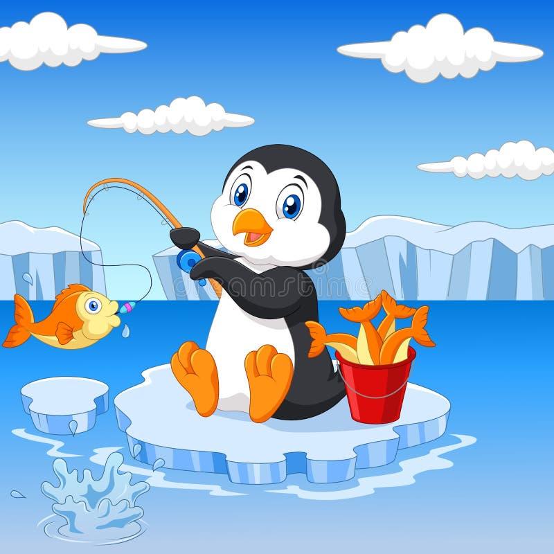 Karikaturpinguinfischen auf dem Eis lizenzfreie abbildung