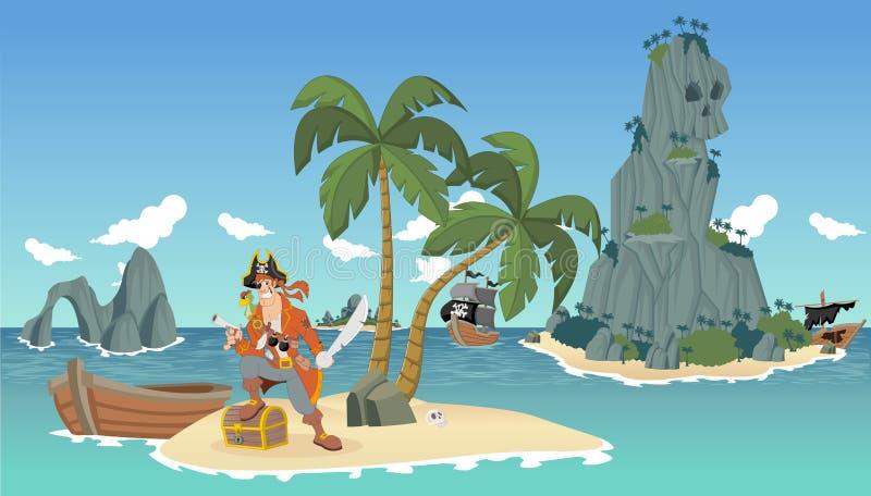 Karikaturpirat auf einem schönen tropischen Strand vektor abbildung