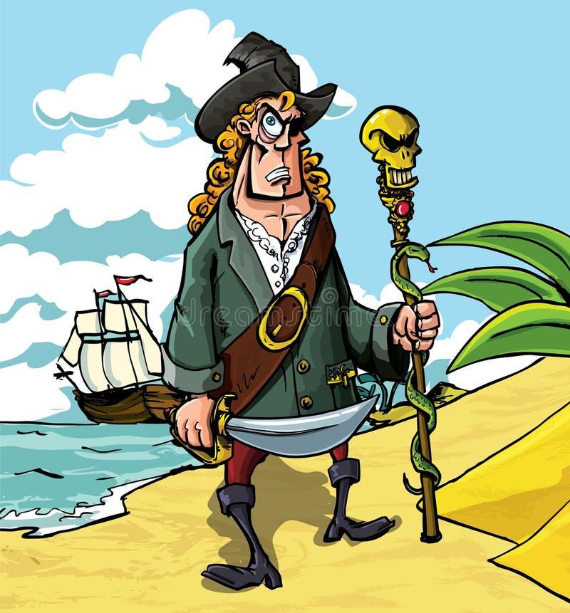 Karikaturpirat auf einem Strand stock abbildung