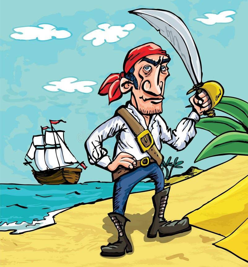 Karikaturpirat auf einem Strand vektor abbildung