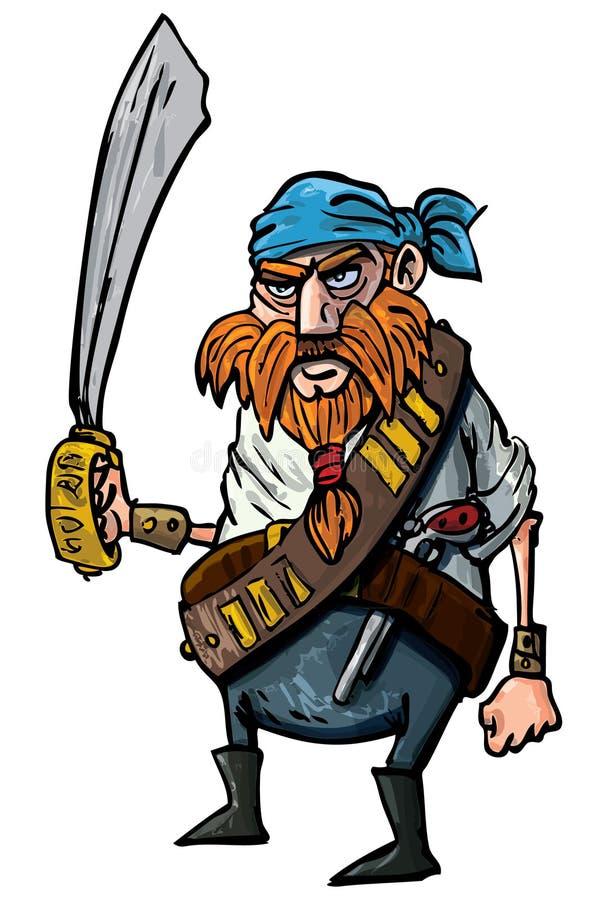 Karikaturpirat mit einer Klinge stock abbildung