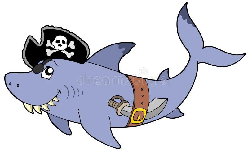 Karikaturpiratenhaifisch stock abbildung
