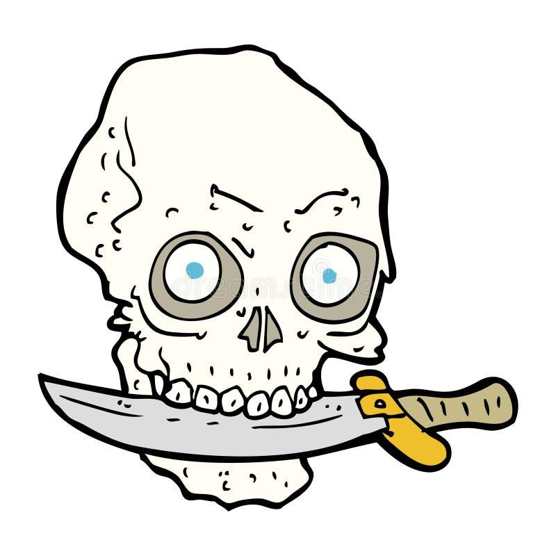 Karikaturpiratenschädel mit Messer in den Zähnen vektor abbildung