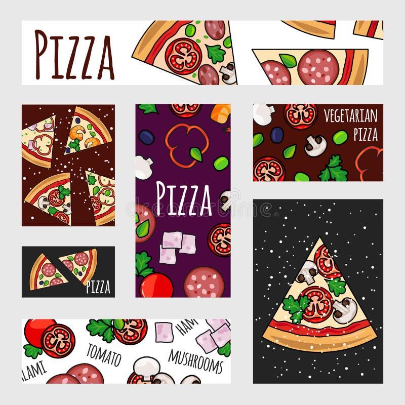 Karikaturpizza-Fahnenschablone Schnelle Lebensmittelkennzeichnung, Fahne, Fliegerentwurf stock abbildung
