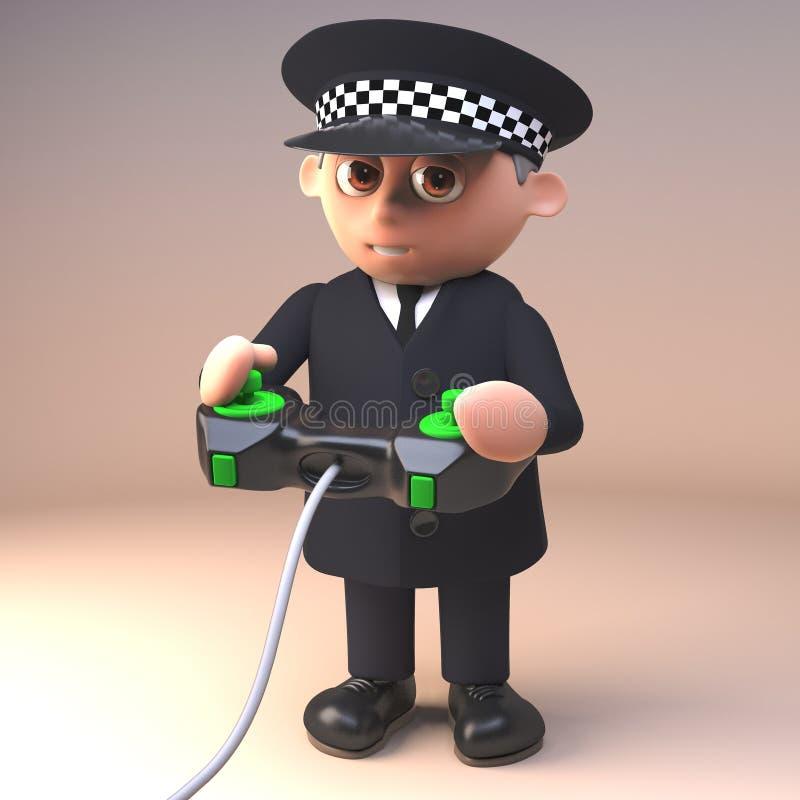 Karikaturpolizistpolizeibeamte in 3d, das ein Videospiel mit einem Steuerknüppel, Illustration 3d spielt lizenzfreie abbildung