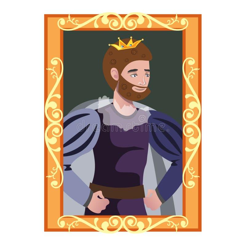 Karikaturporträt von König im goldenen Rahmen lizenzfreie abbildung