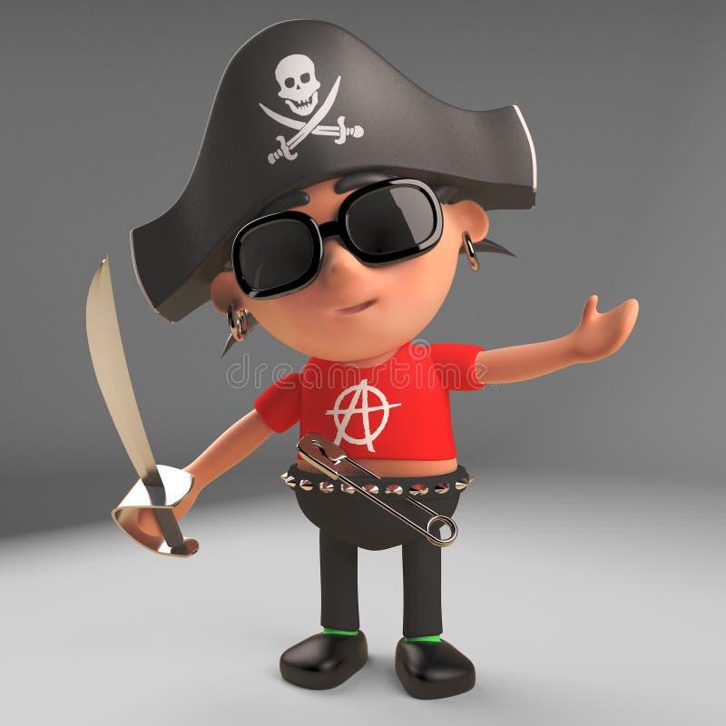 Karikaturpunkrocker, der einen Totenkopf mit gekreuzter Knochen-Piratenhut trägt und eine Machete, Illustration 3d hält vektor abbildung