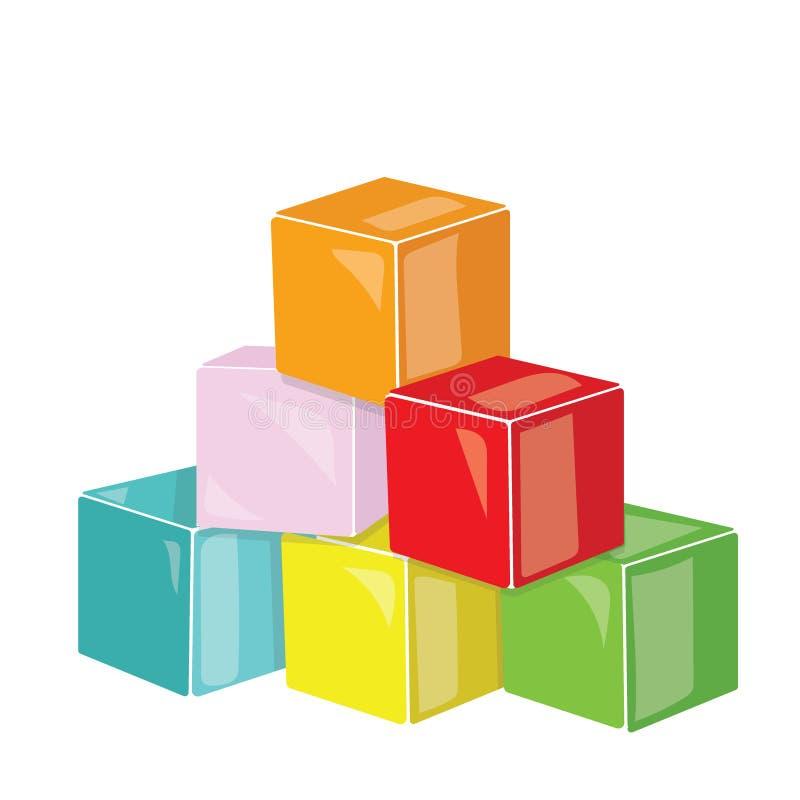 Karikaturpyramide von farbigen Würfeln Spielzeugwürfel für Kinder Bunte Vektorillustration für Kinder lizenzfreie abbildung