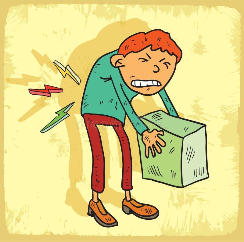 Karikaturrückenschmerzenillustration, Vektorikone lizenzfreie abbildung