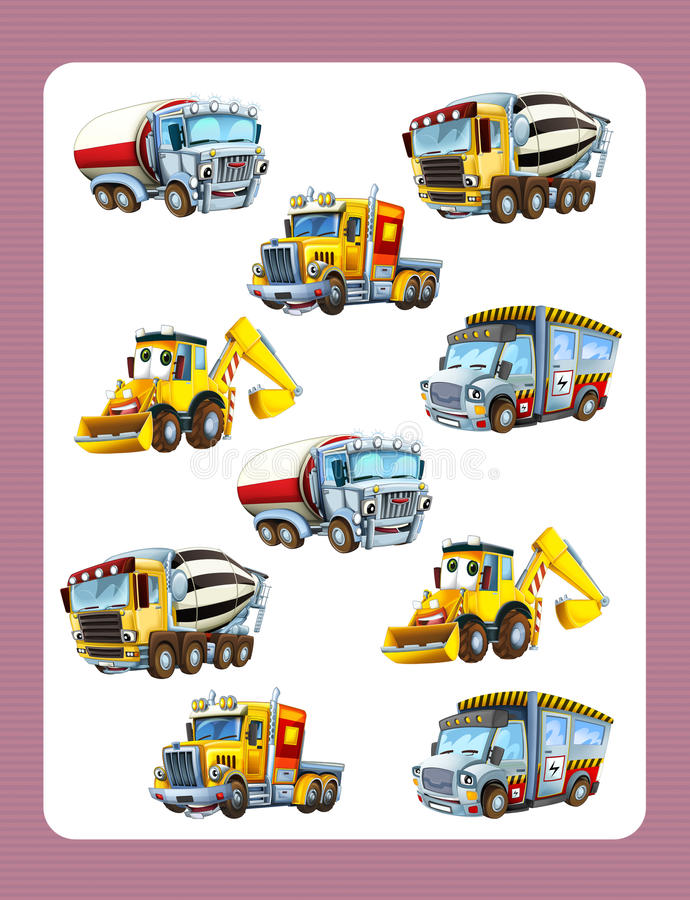 Karikaturratespiel für Kleinkinder mit den bunten Industrieautos, die Paaren sich anschließen stock abbildung