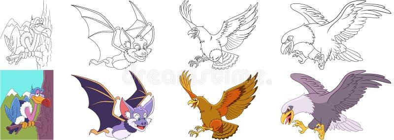 Karikaturraubvögel eingestellt lizenzfreie abbildung