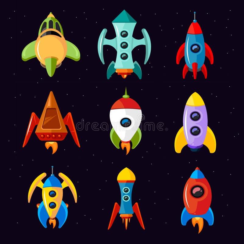 Karikaturraumschiffe, Rakete und futuristischer Raumfahrzeugvektorsatz stock abbildung