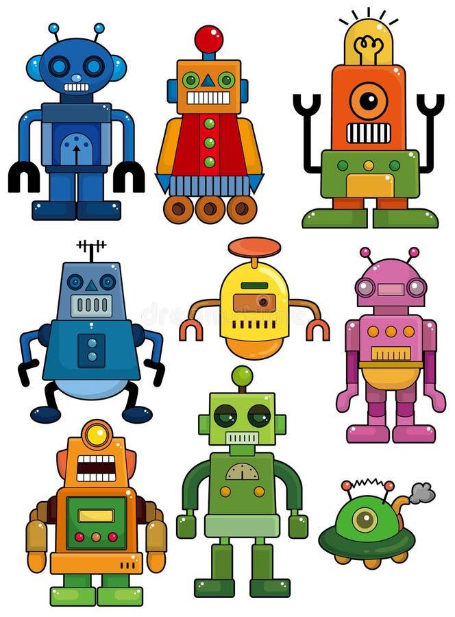 Karikaturroboter-Ikonenset lizenzfreie abbildung