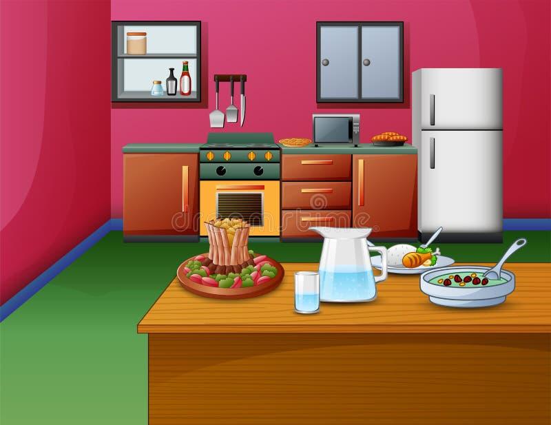Karikaturrosa-Artküche Innen mit Holztisch und Nahrung vektor abbildung