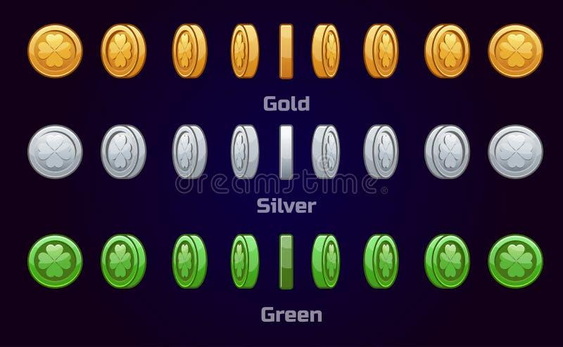 Karikatursatz Metall und grüne Münzen stock abbildung