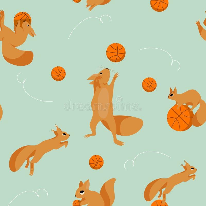 Karikatursatz, nahtloses Muster mit den spielerischen Eichhörnchen, die im Basketball plaing sind vektor abbildung