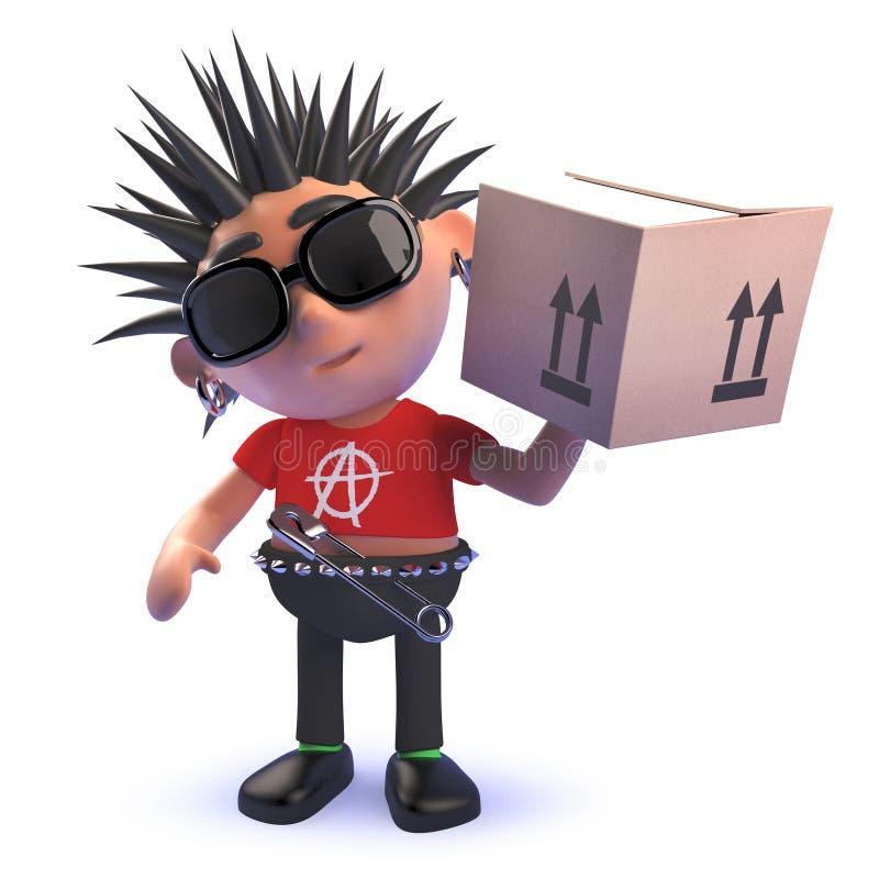 Karikaturschändlicher Punkrockercharakter in 3d, das eine Pappschachtel liefert stock abbildung