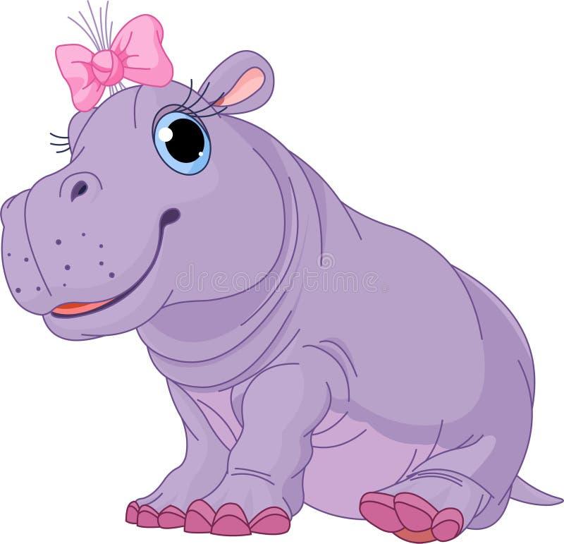 Karikaturschätzchen Flusspferdmädchen stock abbildung