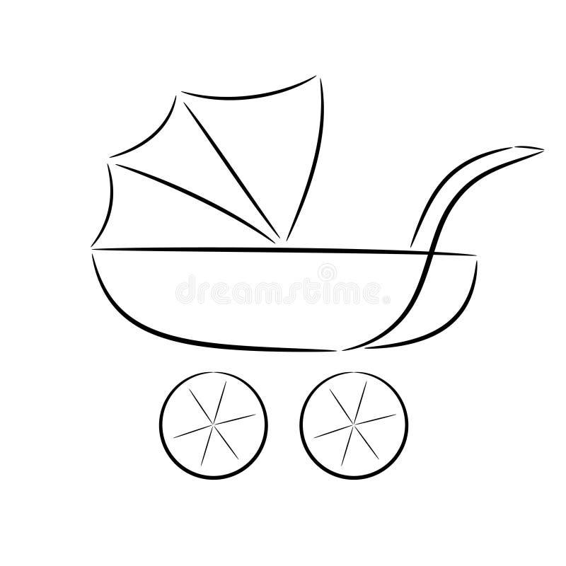 Karikaturschattenbild eines Pram stock abbildung