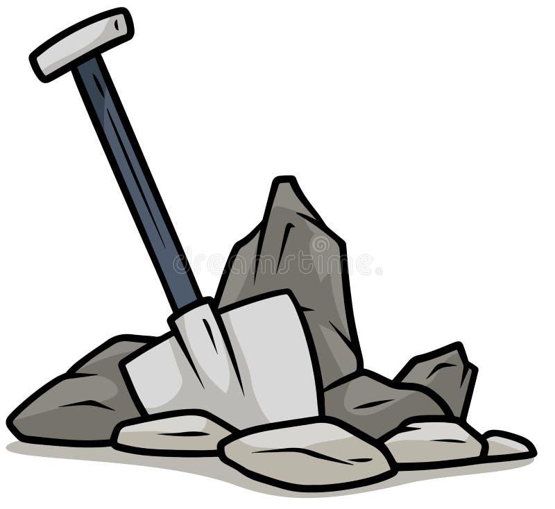 Karikaturschaufel in der grauen Steinvektorikone stock abbildung