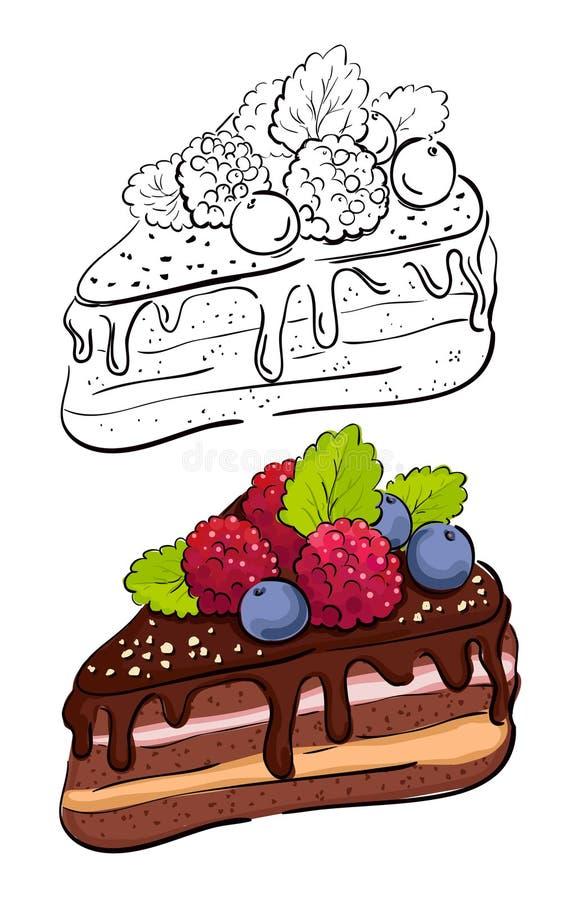 Karikaturscheibe des Kuchens. vektor abbildung