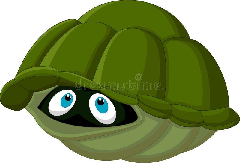 Karikaturschildkröte versteckt sich in seinem Oberteil lizenzfreie abbildung