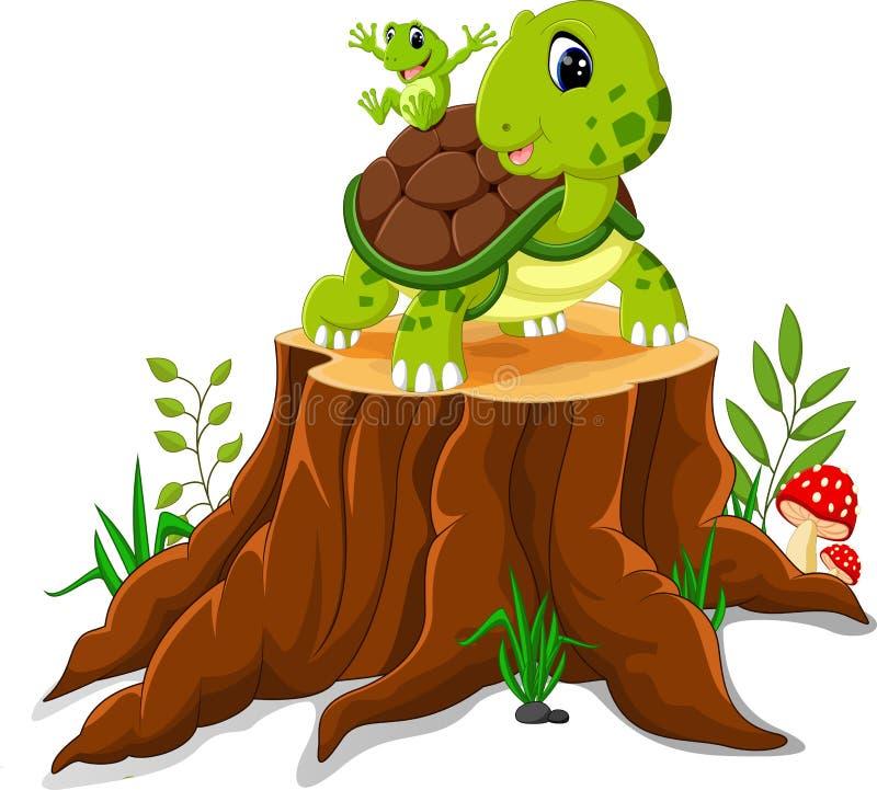 Karikaturschildkröten- und -froschaufstellung stock abbildung