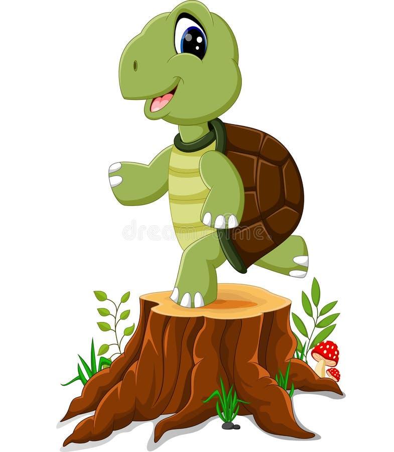 Karikaturschildkrötenaufstellung lizenzfreie abbildung