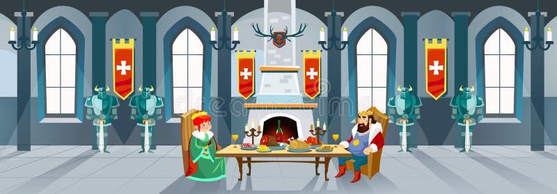 Karikaturschlosshalle mit König und Königin Königliches Abendessen in vorderem O vektor abbildung