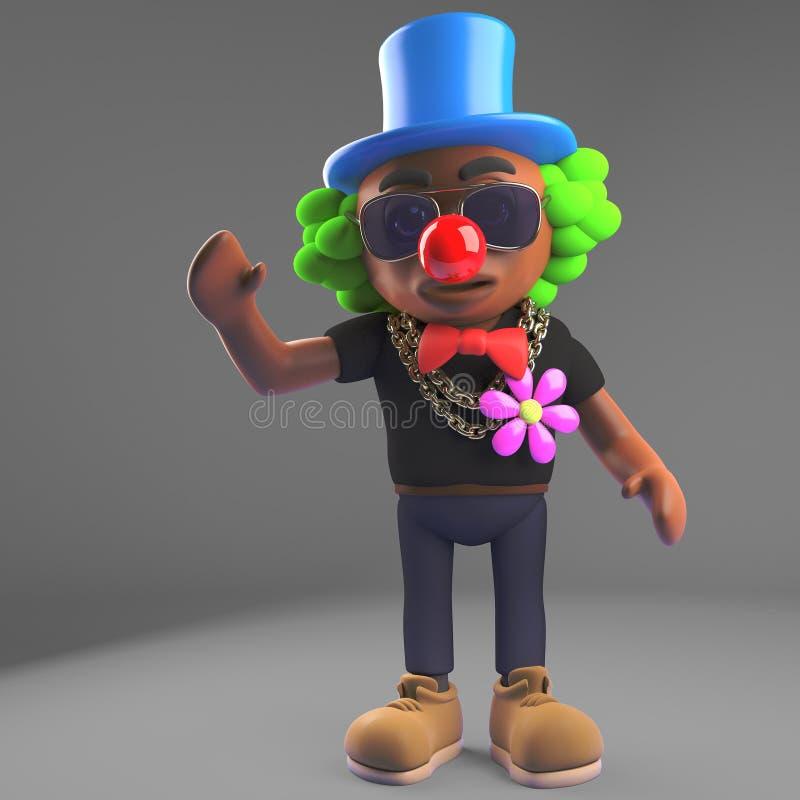 Karikaturschwarz-Hip-Hop-Rapper gekleidet als Clown mit roter Nase, Illustration 3d vektor abbildung