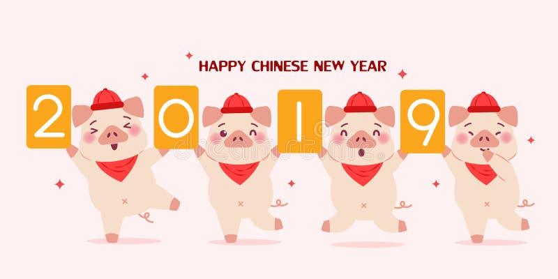Karikaturschwein mit 2019 vektor abbildung