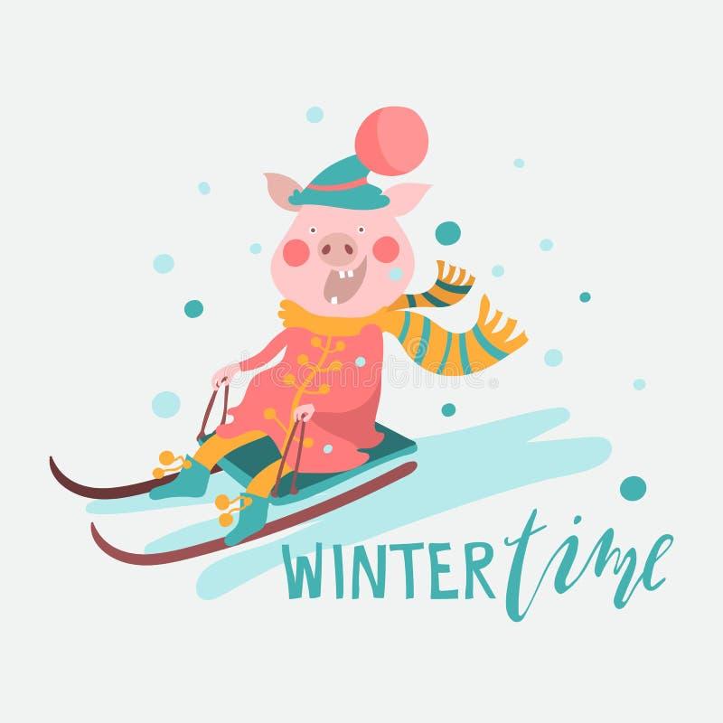 Karikaturschwein, piggy, Ferkel auf einem Schlitten, Wintersaisonspaßtätigkeits-Grafikillustration lizenzfreie abbildung