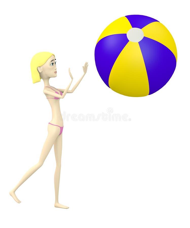 Karikaturschwimmermädchen mit Wasserball lizenzfreie abbildung